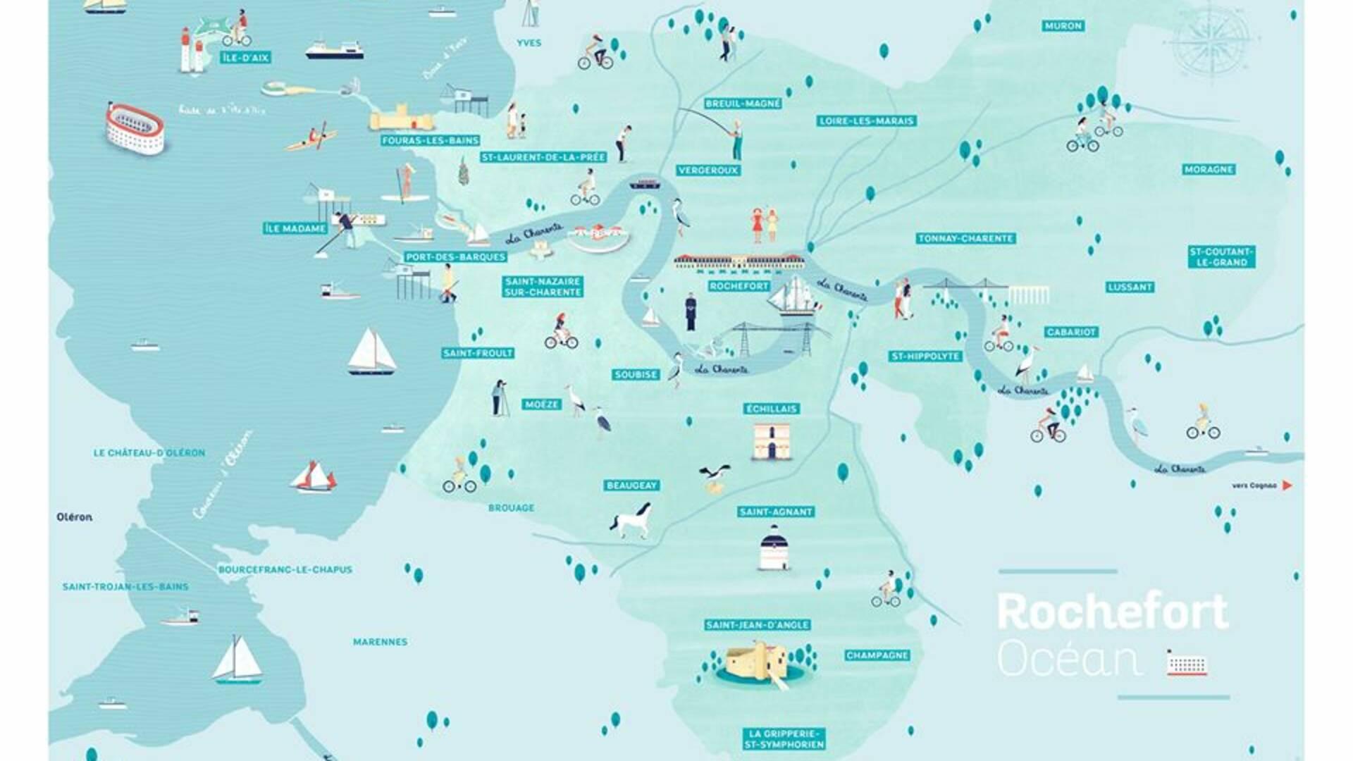 carte illustrée de rochefort océan