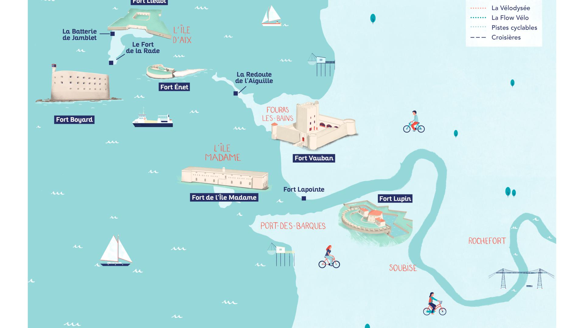 Carte des forts à Rochefort Ocean en Charente Maritime © C.Gautier
