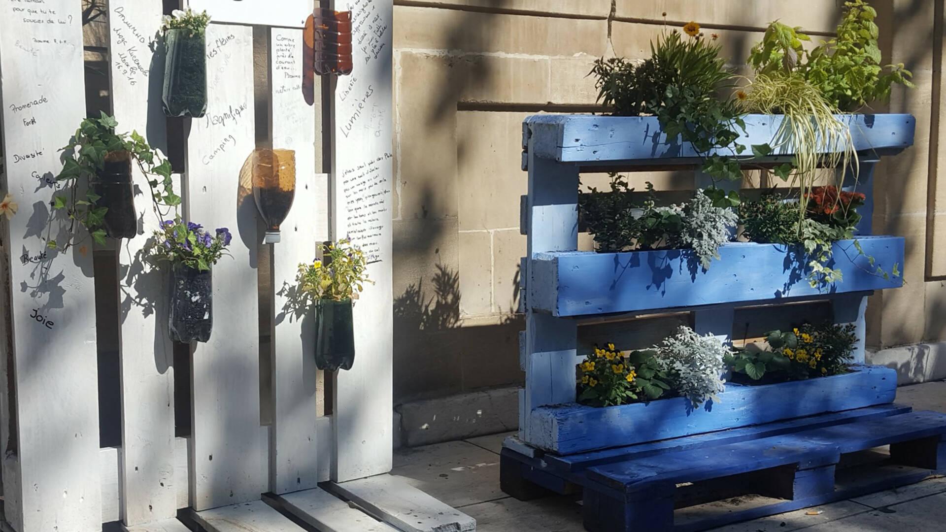 Plantes et fleurs sur palettes ©Chrystelle ECALE